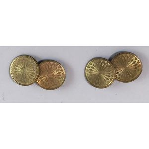 Vintage Art Deco Gold Plated Cufflinks Signed